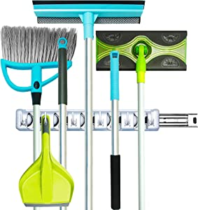 Guay Clean Broom and Mop Holder - Garden Tool Organizer - Home Storage Utility Rack- Strong Grip Hangers with Foldable Hooks - Heavy Duty Wall Mounted Shelf System - with Rail