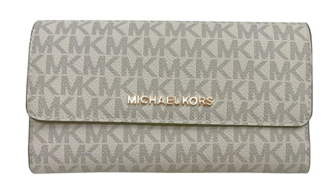 041864f49d8a Michael Kors Jet Set Travel Large Trifold Leather Wallet: Amazon.co.uk:  Clothing