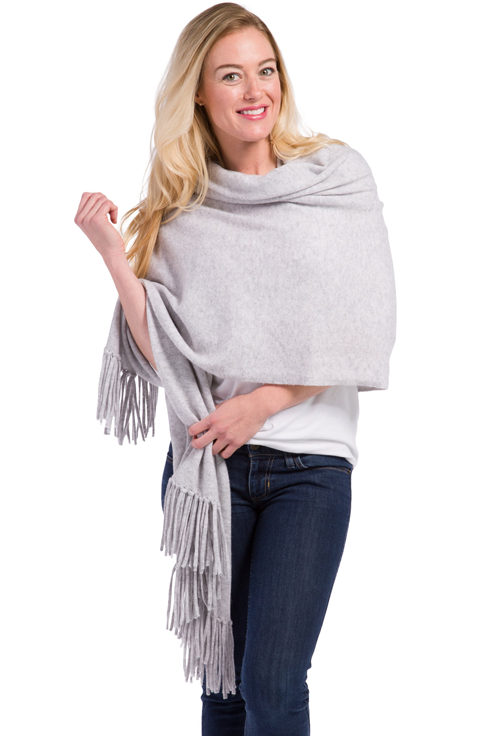 Fishers Finery Women's 100% Cashmere Knit Wrap Shawl with Fringe; (Light Gray) by Fishers Finery