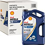 Shell Rotella T T6 Full Synthetic Heavy Duty Engine Oil 5W-40, 1 Gallon, Pack of 3