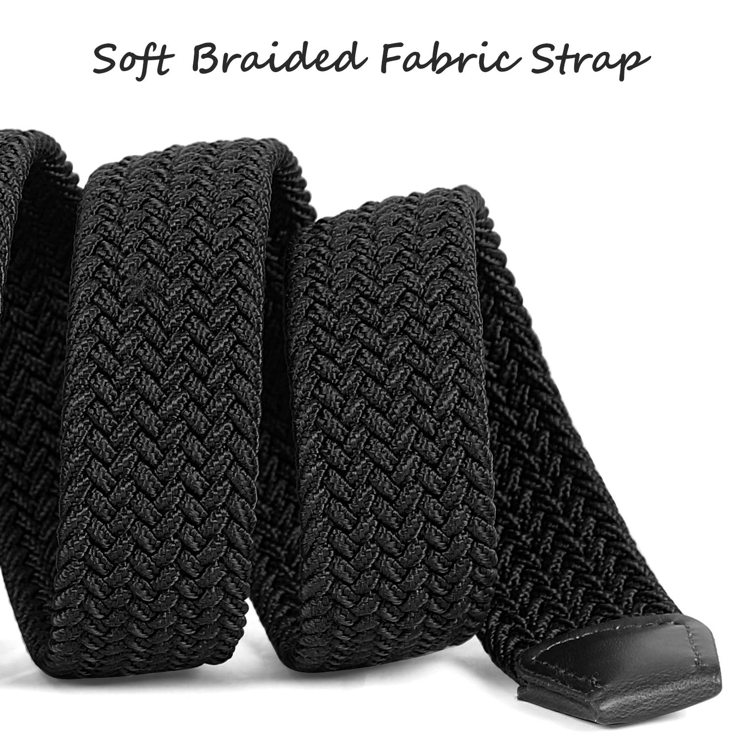 LEACOOLKEY Braided Stretch Belt for Men/Ladies Weave Canvas Elastic Woven Belt, Black,Medium(Suits For Pants Size:33-40 Inches)