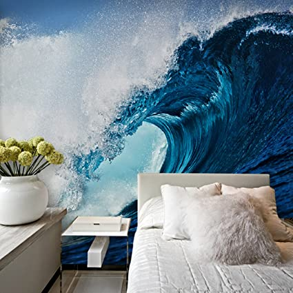 Beau Large 3D Stereo Wallpaper Mural Blue Wave Surf Background Bedroom TV  Background Wall