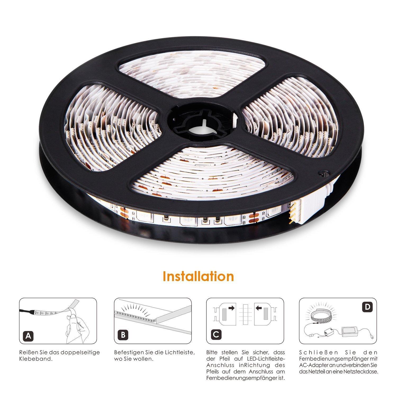 Albrillo 5M 12V RGB LED Strip 300 SMD5050 LEDs inkl. Fernbedienung ...