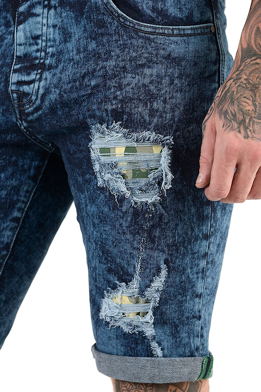 bc14461de9f5e ETO Mens Designer Jeans Shorts Regular Fit Ripped Repair Distressed Casual  Denim  Amazon.co.uk  Clothing