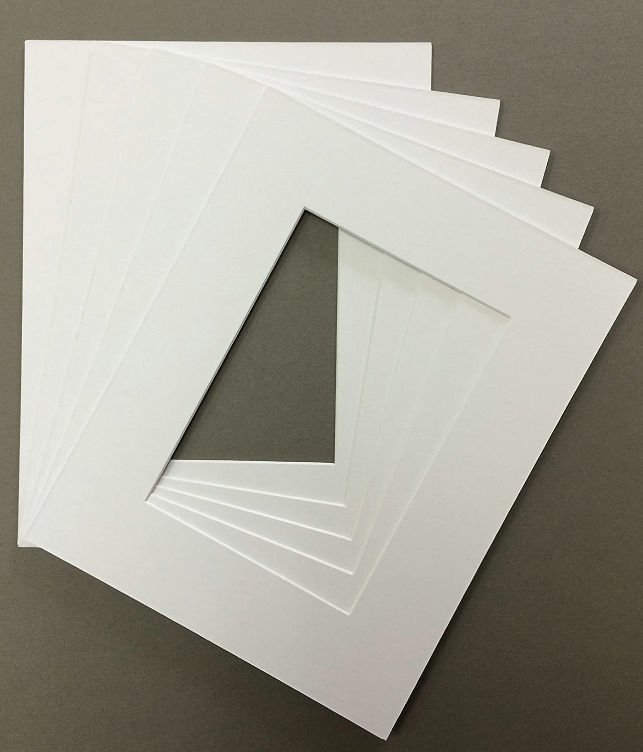 Pack of 5 12x16 White Picture Mats with White Core Cut for 8x12 Pictures