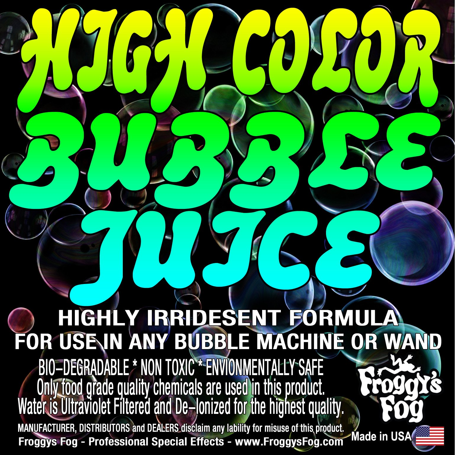 Froggys Fog - High Color Bubble Juice - Strong, Long-Lasting, Iridescent, Brilliant for All Bubble Machines and Bubblers - 4 Gallon Case
