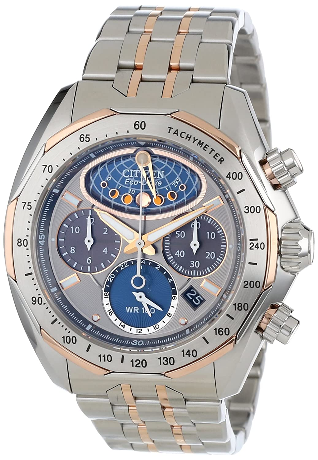 Amazon.com: Citizen Mens AV3006-50H The Signature Collection Eco-Drive Moon Phase Flyback Chronograph Watch: Watches
