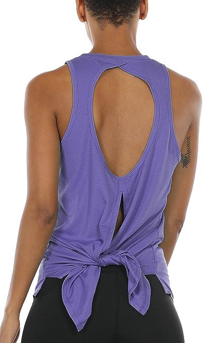 icyzone Rückenfrei Sport Top Damen Lang - Casual Bluse Oberteil Fitness Yoga T-Shirt