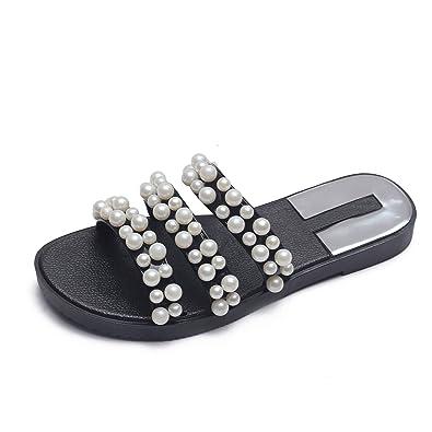 96d0ec9be66 Dear Time Women s PVC Pearl Slipper Sandals Summer Jelly Flats Platform  Shoes Black US 5.5