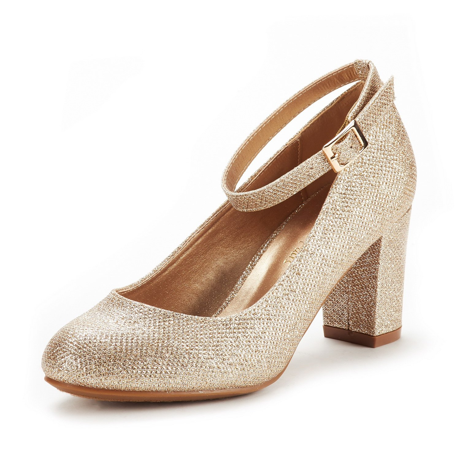 DREAM PAIRS Women's Demilee Gold Glitter High Chunky Heel Pump Shoes Size 9.5 B(M) US