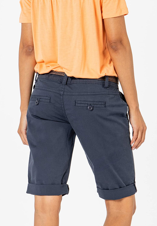 Pantaloni Chino Corti con Cintura Intrecciata Pantaloncini Basic in Cotone Fresh Made Bermuda Estivi da Donna