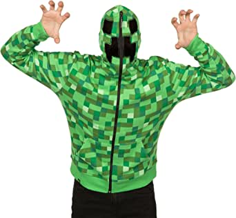 JINX Minecraft Men's Creeper Zip-Up Costume Hoodie, with Full Face Mask