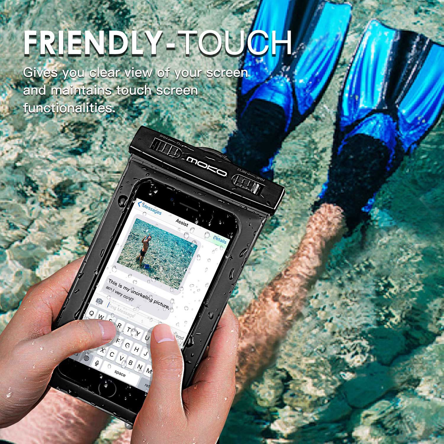 MoKo Waterproof Phone Pouch, Underwater Waterproof Cellphone Case Dry Bag with Lanyard Armband Compatible with iPhone X/Xs/Xr/Xs Max, 8/7/6s Plus, Samsung Galaxy S10/S9/S8 Plus, S10 e, S7 Edge, Black by MoKo (Image #4)