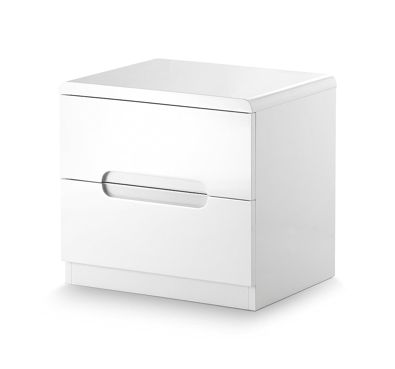 Julian Bowen Manhattan, lucido, comodino con cassetti, legno, bianco MAN201