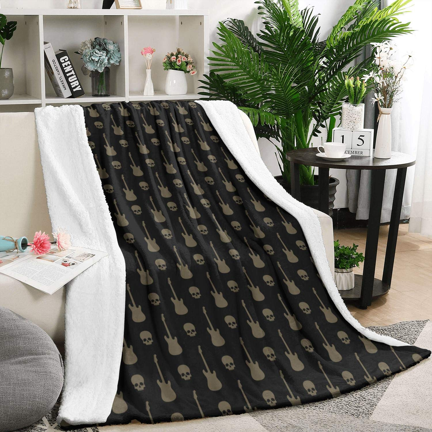 Heart Wolf Skulls and Guitars White 5979 Inch Flannel Fleece Blanket Weighted Blanket Warm Bed Blanket by Heart Wolf