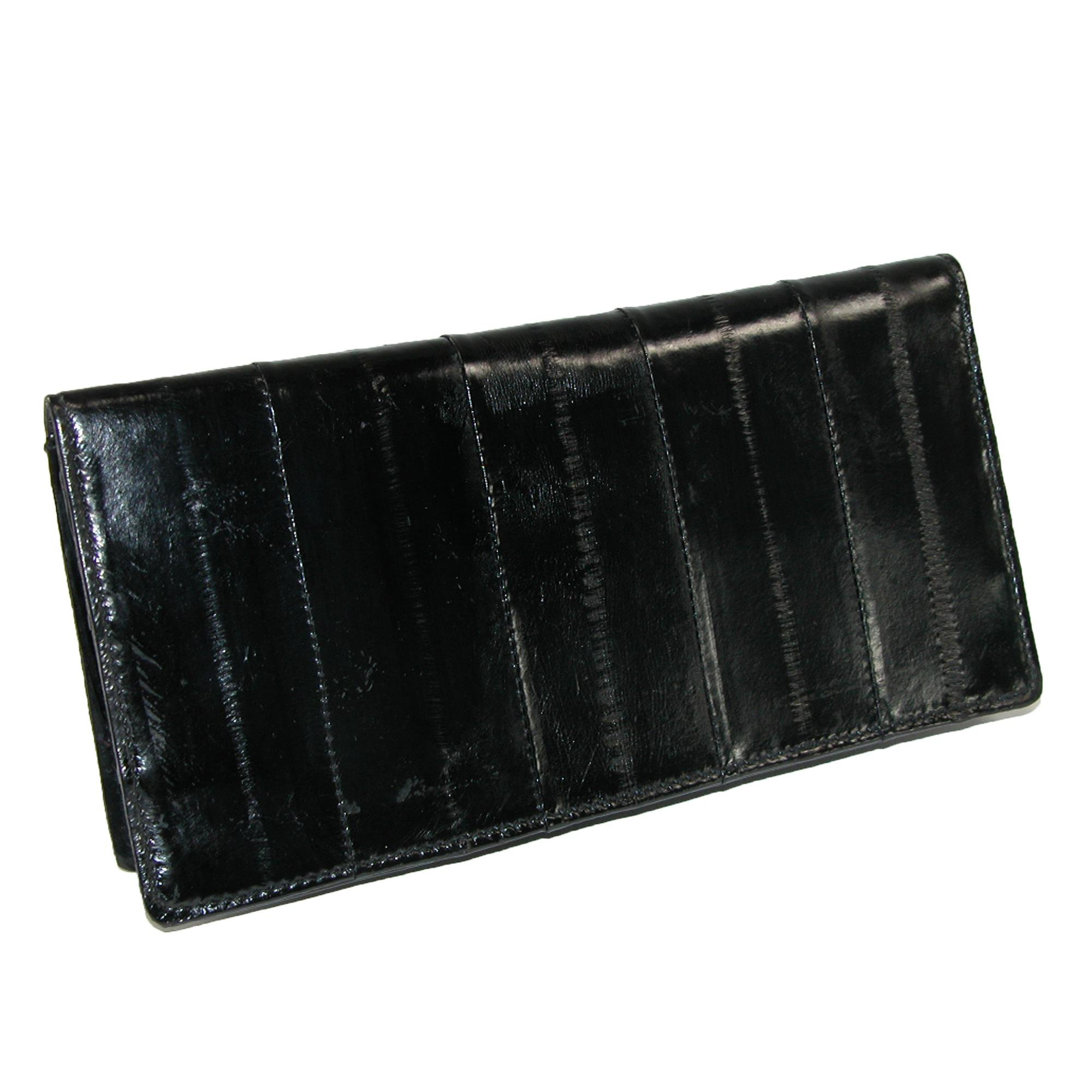 MJ Masters Women's Eel Skin Basic Checkbook Cover, Black