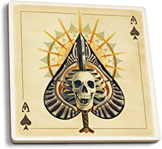 product image for Lantern Press Ace of Spades - Playing Card (Set of 4 Ceramic Coasters - Cork-Backed, Absorbent)