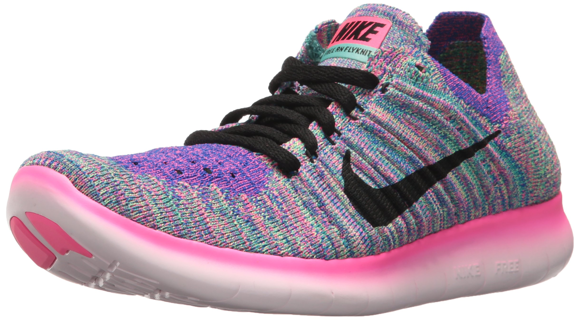 Nike Women's Free Running Motion Flyknit Shoes, Pink Blast/Black/Racer Blue/Clear Jade - 8 B(M) US by NIKE