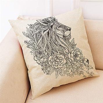 Lywey 2019 Fashion Home Decor Cushion Cover Lion Pattern Pillowcase Throw Pillow Covers
