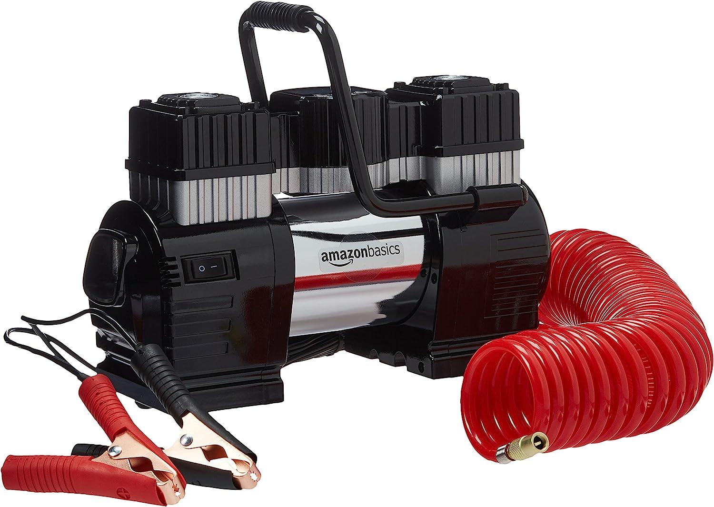 AmazonBasics - Compresor de aire portátil con pinza doble de batería, con estuche de transporte