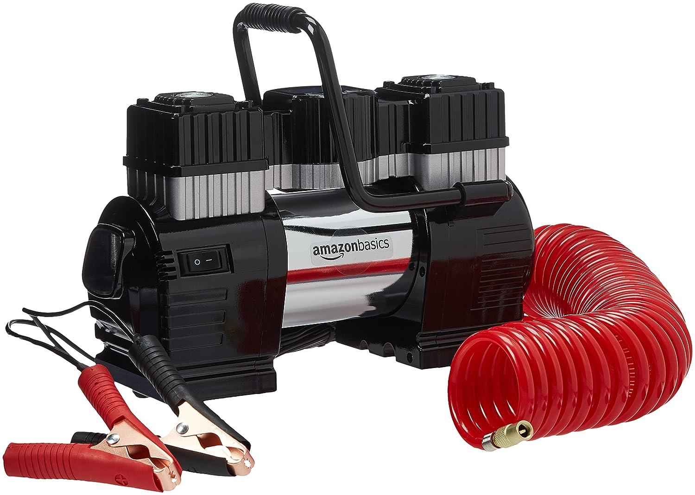 AmazonBasics - Compresor de aire portátil con pinza doble de batería, con estuche de transporte: Amazon.es: Coche y moto