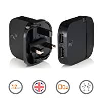 Portable Charger by Mu | British Duo Charger | Universal Adapter iPhone Charger for All Smart Phones and Tablets | 2 x 1.2Amp Dual USB ports in Black