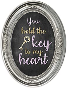 Cottage Garden The Key to My Heart Brushed Silver Floral 5 x 7 Oval Table Top and Wall Photo Frame