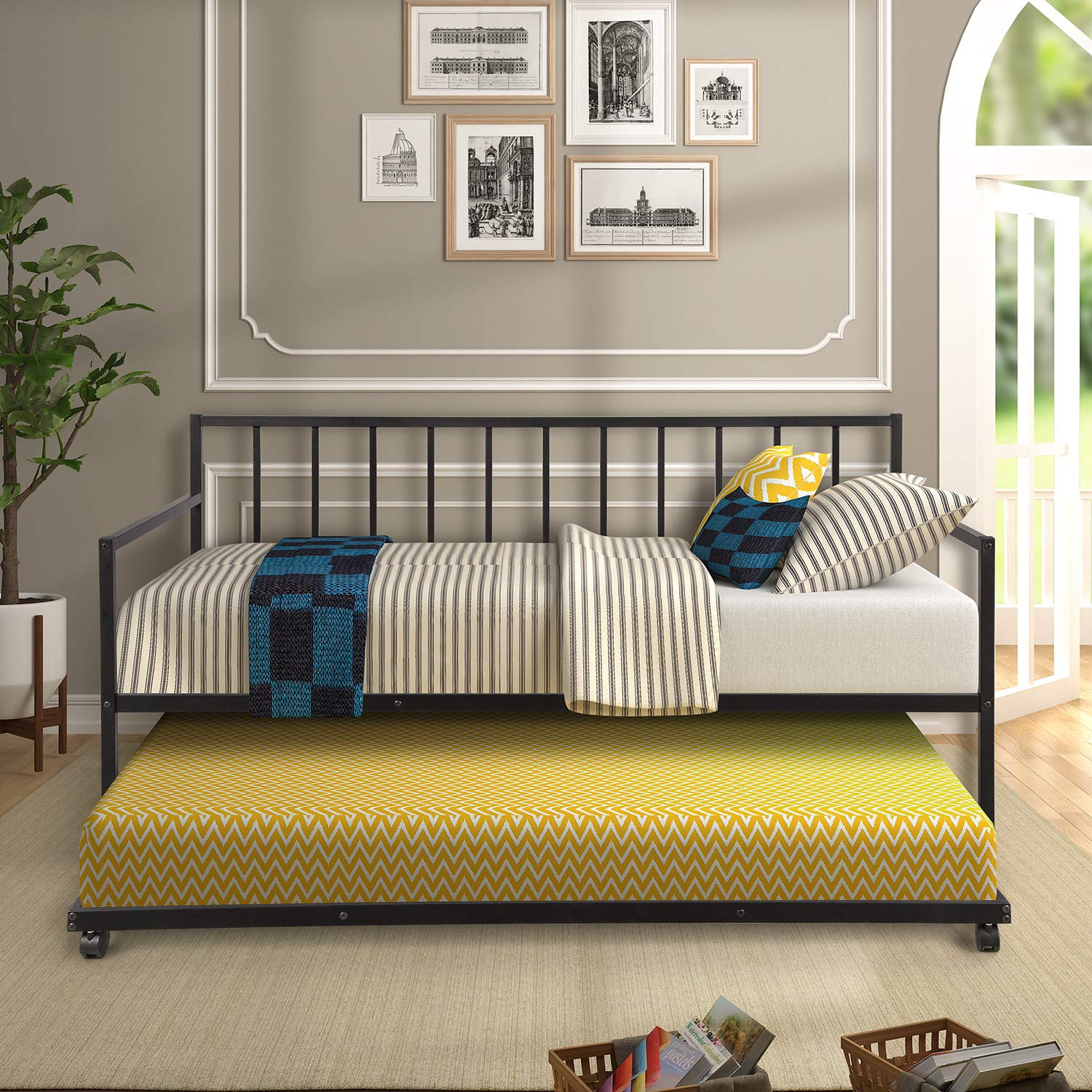 Avery Upholstered Platform Bed, 50 Tall Headboard, Nickle Finish Nail-heads, Strong Wood Slats, Wood Feet, Designed to Work with Adjustable Beds, Solid Rails, Midnight Blue Denim Color Fabric Queen