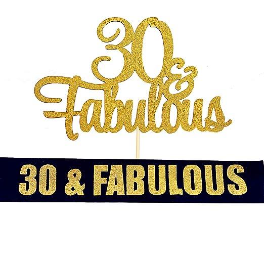 JeVenis - Juego de 2 decoraciones para tarta de 30 cumpleaños con banda fabulosa para 30 cumpleaños