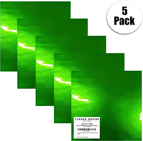 Adhesivo metálico de vinilo de Apple Green, paquete de 5 láminas de vinilo para manualidades de