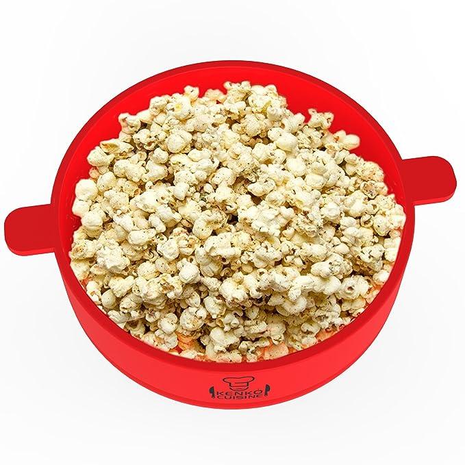 Kenko cocina microondas palomitas de maiz poppers con tapa, plegable silicona palomitero, color rojo: Amazon.es: Hogar