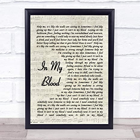Amazon in My Blood Song Lyric Vintage Script Quote