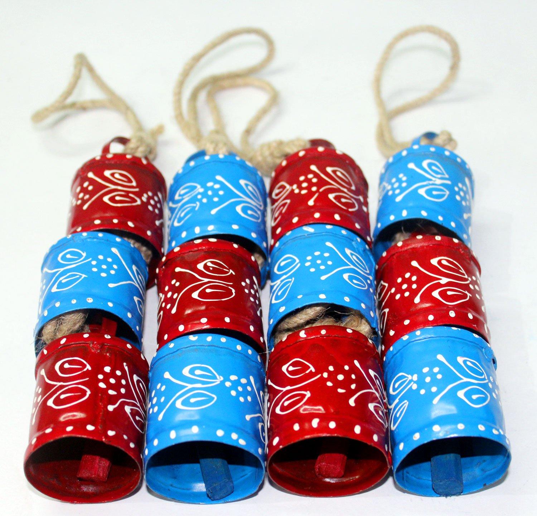 One Dozen Hand Painted Decorative Tin Bells 2.5''H 12 Pieces