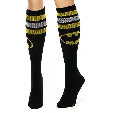 e1a387509e9 DC Comics Batman Stripes and Logo Athletic Knee High Juniors Girl Socks  New  Amazon.co.uk  Clothing