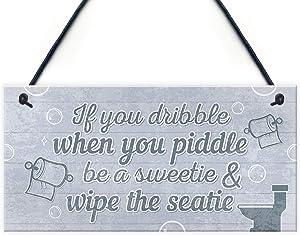 Nautical Quirky Grey Bathroom Signs Funny Wipe The Seatie Toilet Door Loo Wall Plaque Gift