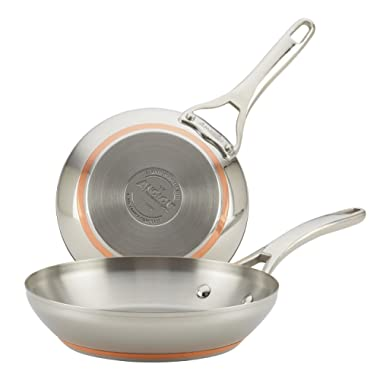 Anolon Nouvelle Copper Stainless Steel Twin Pack 8-Inch and 9.5-Inch French Skillets