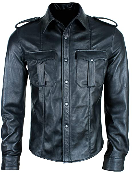 Mens Very Hot Real Black Sheep Leather Full Sleeve Police Uniform Shirt Bluf Gay