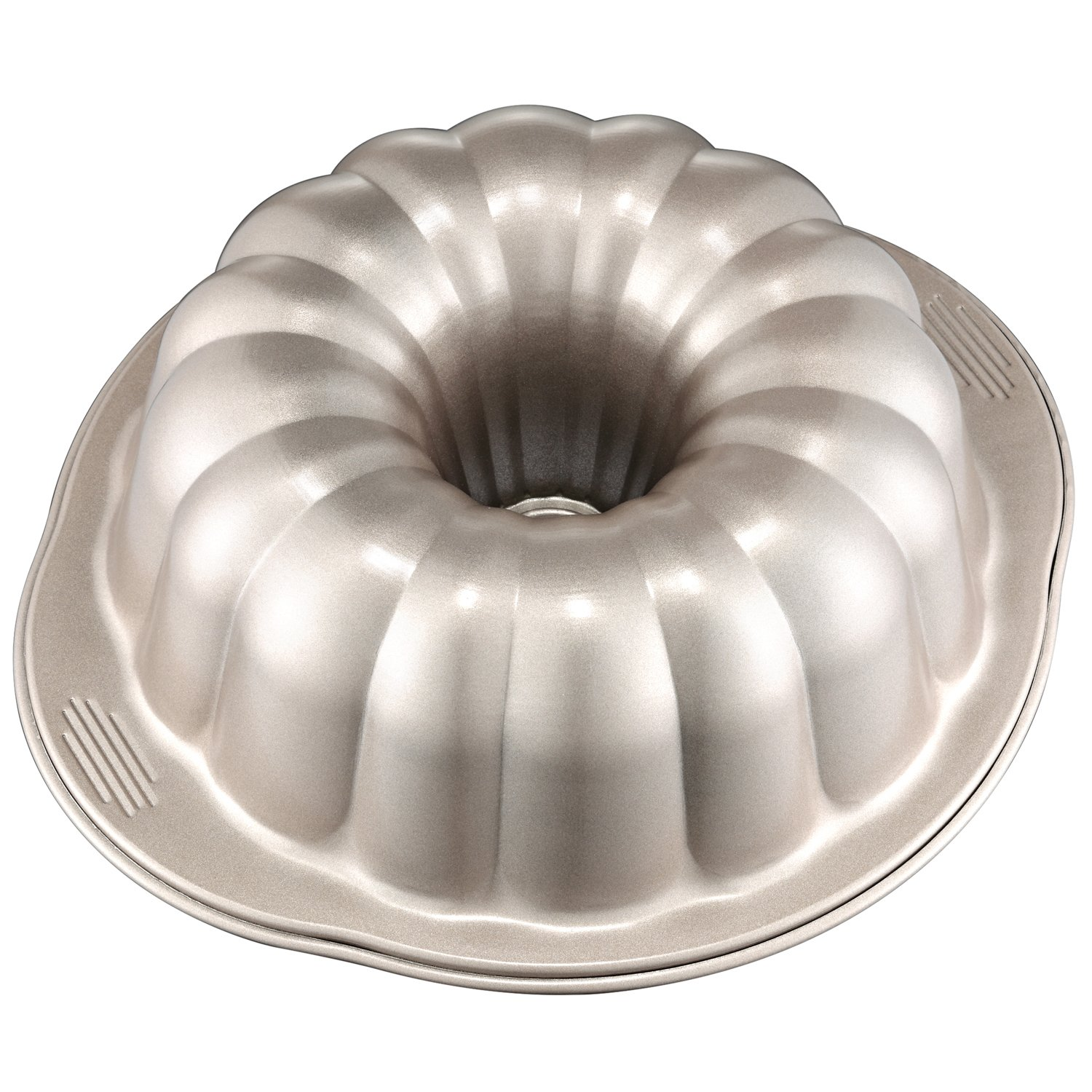 CHEFMADE 10-Inch Pumpkin-shaped Bundt Pan, Non-stick Carbon Steel Banquet Cake Mold, FDA Approved for Oven Baking (Champagne Gold)
