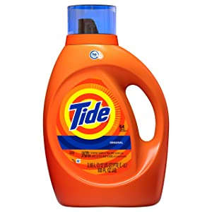 Tide Original Scent HE Turbo Clean Liquid Laundry Detergent, 64 loads, 100 fl oz (Packaging May Vary)