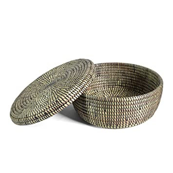 African Fair Trade Hand Woven Lidded Storage Basket Black  sc 1 st  Amazon.com & Amazon.com: African Fair Trade Hand Woven Lidded Storage Basket ...