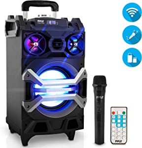 "Pyle 500 Watt Outdoor Portable BT Connectivity Karaoke Speaker System - PA Stereo with 8"" Subwoofer, DJ Lights Rechargeable Battery Microphone, Recording Ability, MP3/USB/SD/FM Radio - PWMA325BT"
