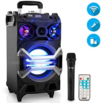 Pyle 500 Watt Outdoor Portable Bluetooth Karaoke Speaker System Pa Stereo With 8 Subwoofer Dj Lights Rechargeable Battery Wireless Microphone Recording Ability Mp3 Usb Sd Fm Radio Pwma325bt Amazon In Electronics