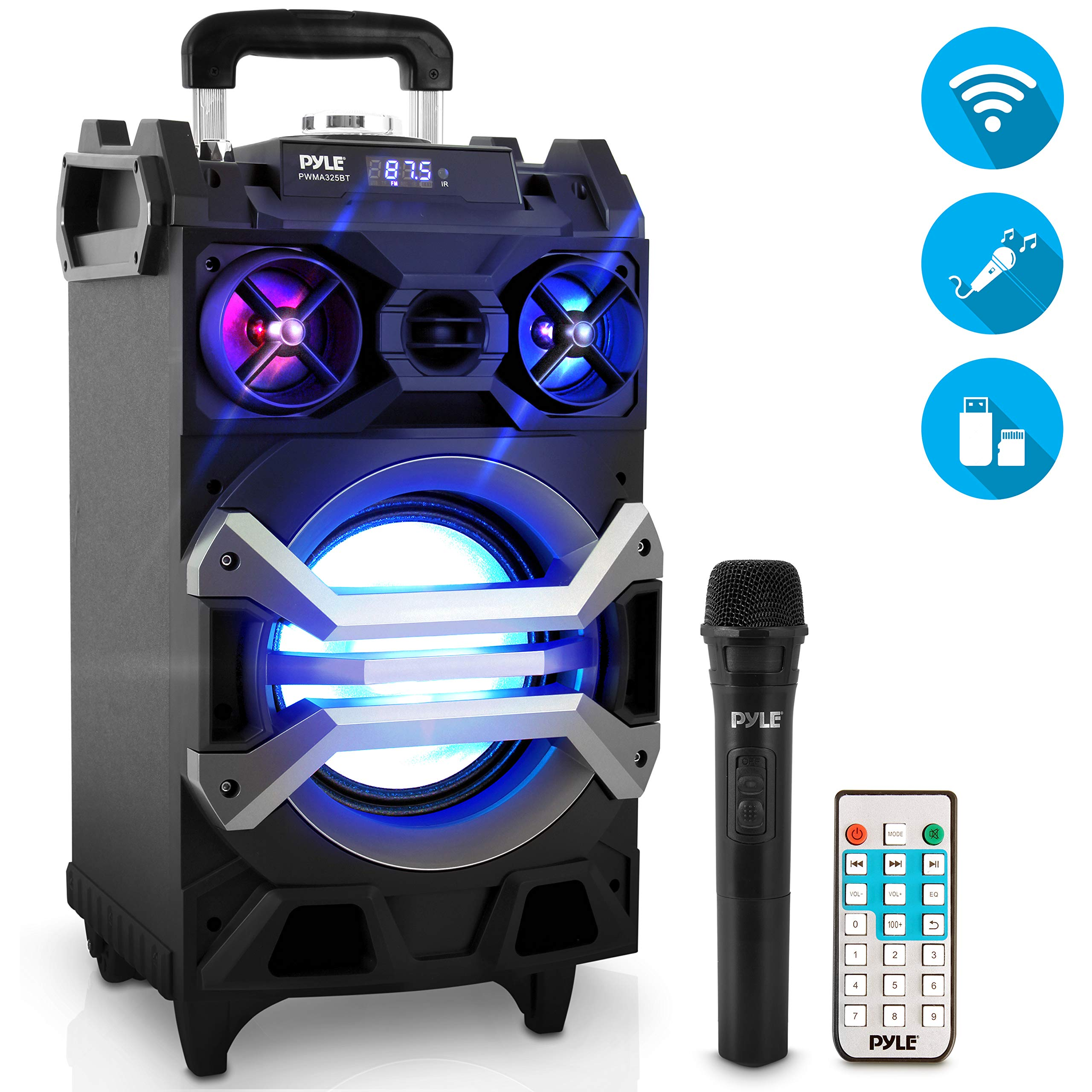Pyle 500 Watt Outdoor Portable BT Connectivity Karaoke Speaker System - PA Stereo with 8'' Subwoofer, DJ Lights Rechargeable Battery Microphone, Recording Ability, MP3/USB/SD/FM Radio - PWMA325BT