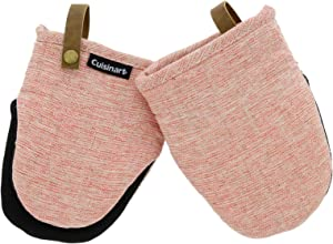 Cuisinart Chambray Neoprene Mini Oven Mitts, 2pk - Heat Resistant Kitchen Gloves to Protect Hands, Non-Slip Grip, Faux Leather Loop - Ideal Set for Handling Hot Cookware, Bakeware - Coral