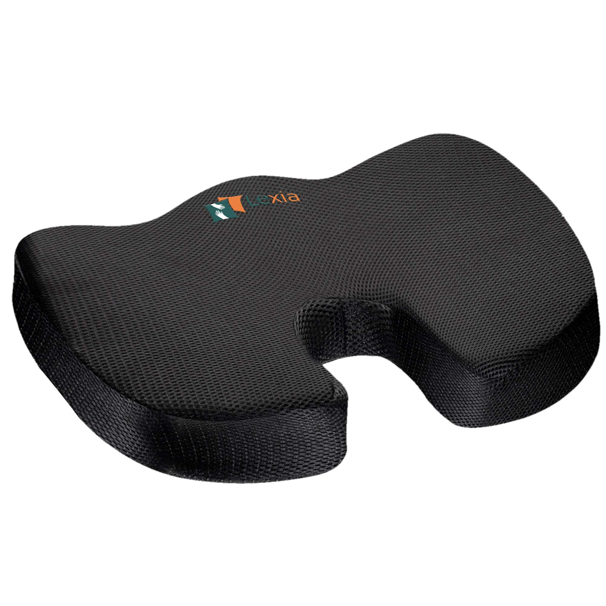 Coccyx Seat Cushion Pillow Orthopedic | Memory Foam Chair Pillow | Relieves Back, Tailbone, Sciatica Nerve Pain | Premium Comfort for Home, Office, Car or Event Seating by Lexia