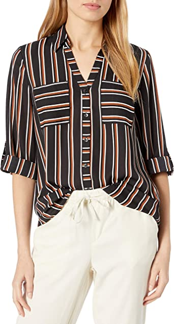 A Juniors Byer Womens Button Down Top with Roll-Tab Sleeves