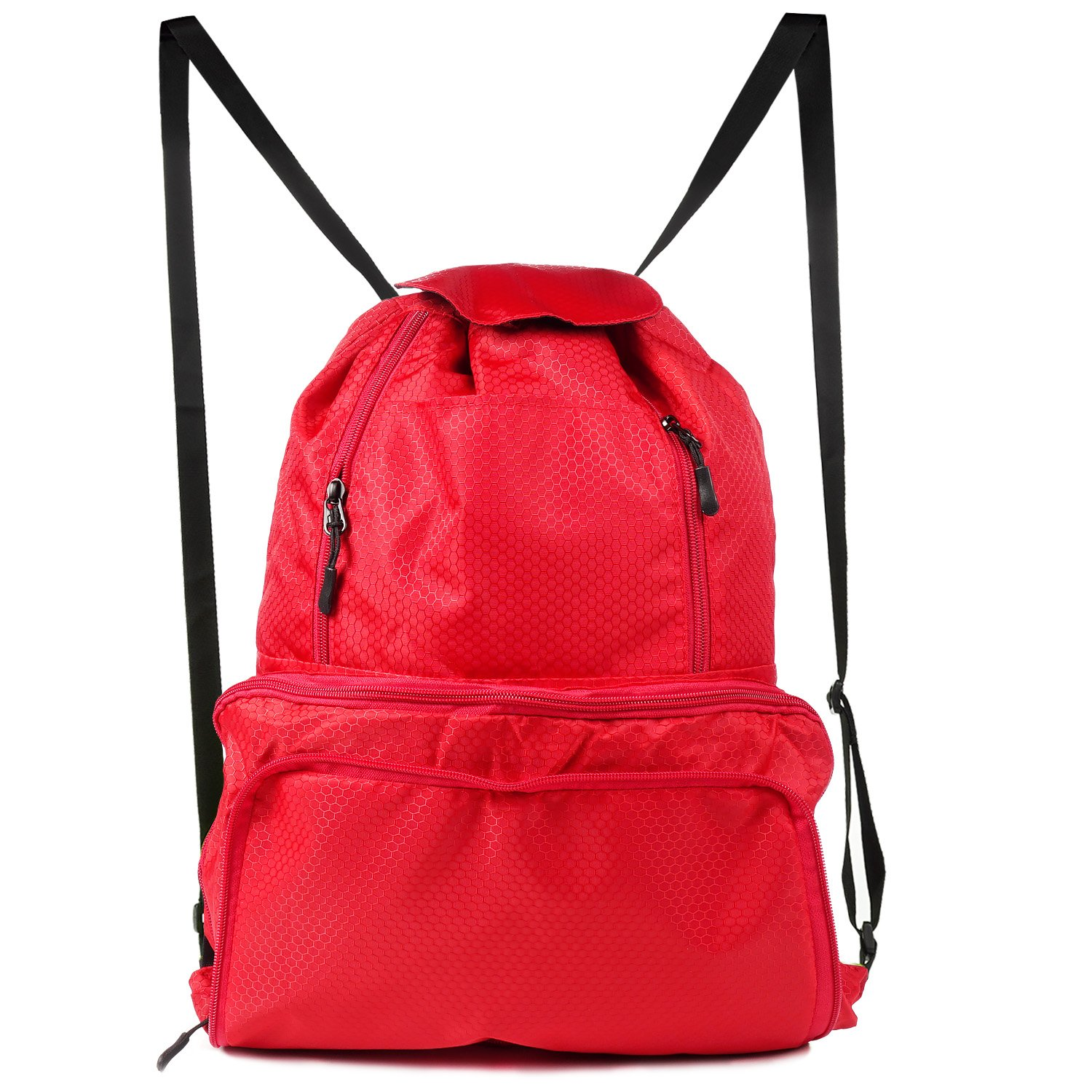 TURATA Drawstring Bag Gym Sackpack Gymsack with Pockets for Outdoor Storage (Foldable) (Black)
