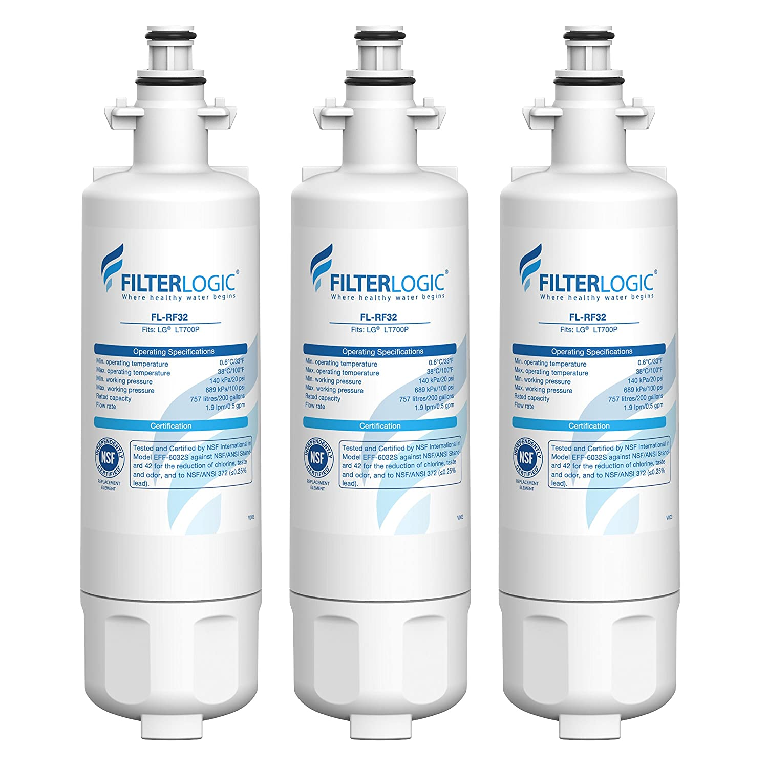 FilterLogic ADQ36006101 Refrigerator Water Filter, Replacement for LG LT700P, Kenmore 9690, 46-9690, 469690, ADQ36006102, LT700PC, WSL-3, R-9690, LFXS30766S, LFXC24726D, LFXS29766S (Pack of 3)
