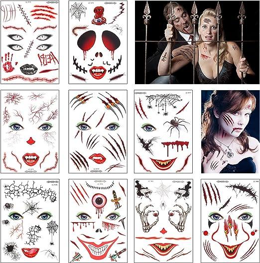 Tatuaje Facial Temporal,ZERHOK 9pcs Tatuajes Caras Temporales ...