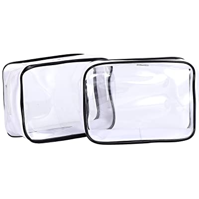 a58ef1f7b873 HOYOFO Pack of 2 Transparent Cosmetic Bag Clear Travel Makeup Bags ...